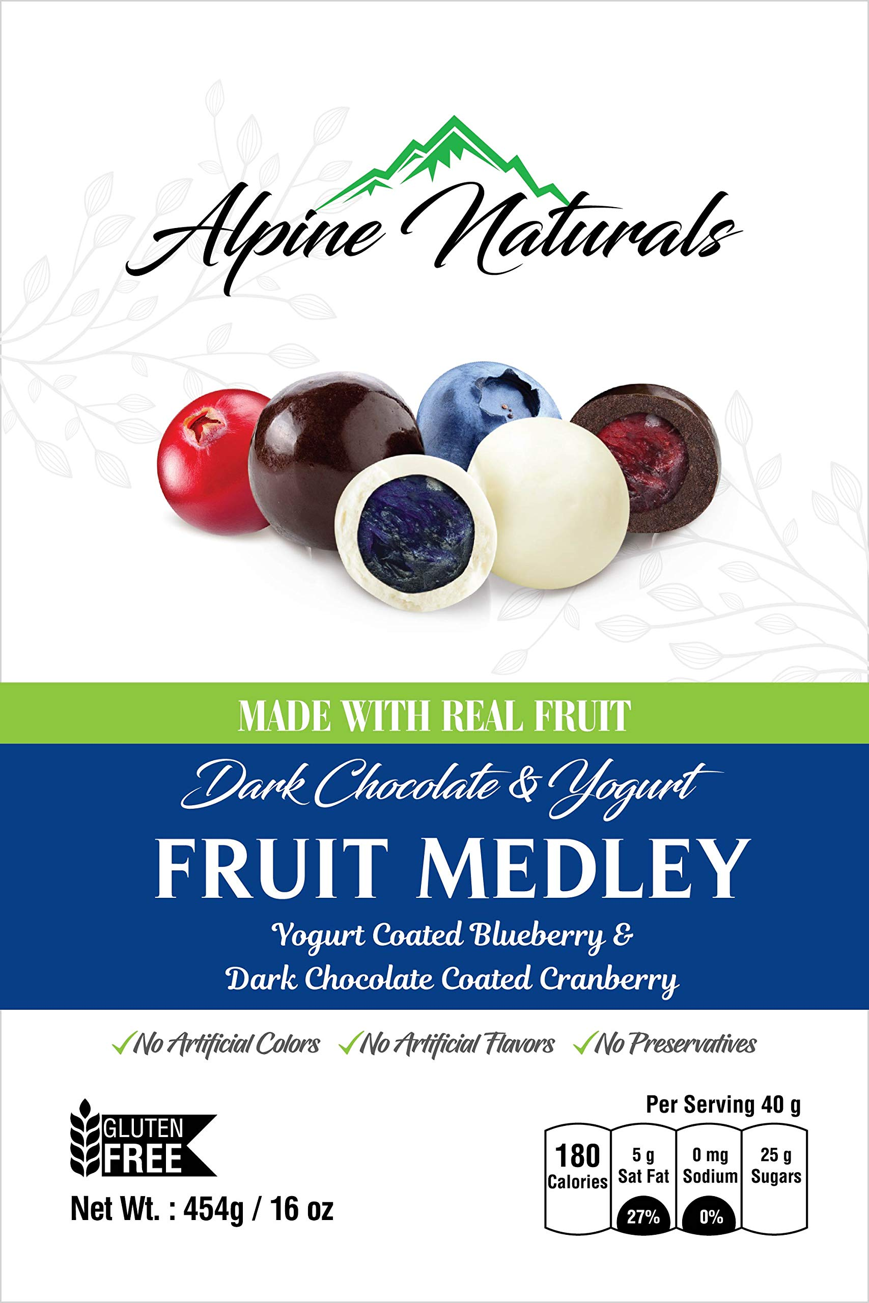 Alpine Naturals Fruit Medley Dark Chocolate Cranberries & Yogurt Blueberries, 16 Ounce