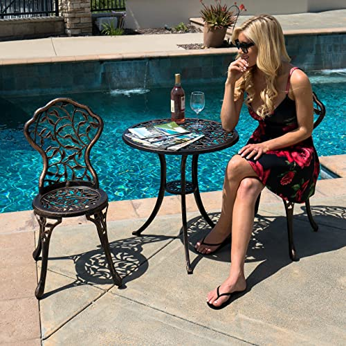 BELLEZE 3 Piece Bistro Outdoor Patio Set Leaf Design Weather Resistant Round Table 2 Chairs Bronze Cast Garden Furniture