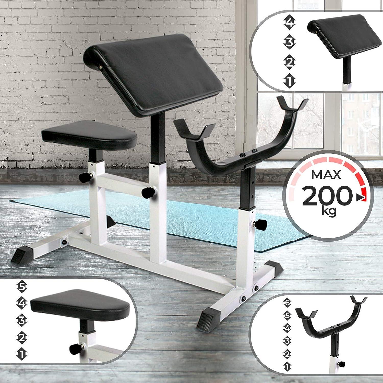 Physionics Banco de Biceps - Carga máxima 200 kg, Apoyabrazos y Asiento Regulable, Soporte Ajustable, Metal, 95/50 cm - Banco de Pesas, Ejercicios