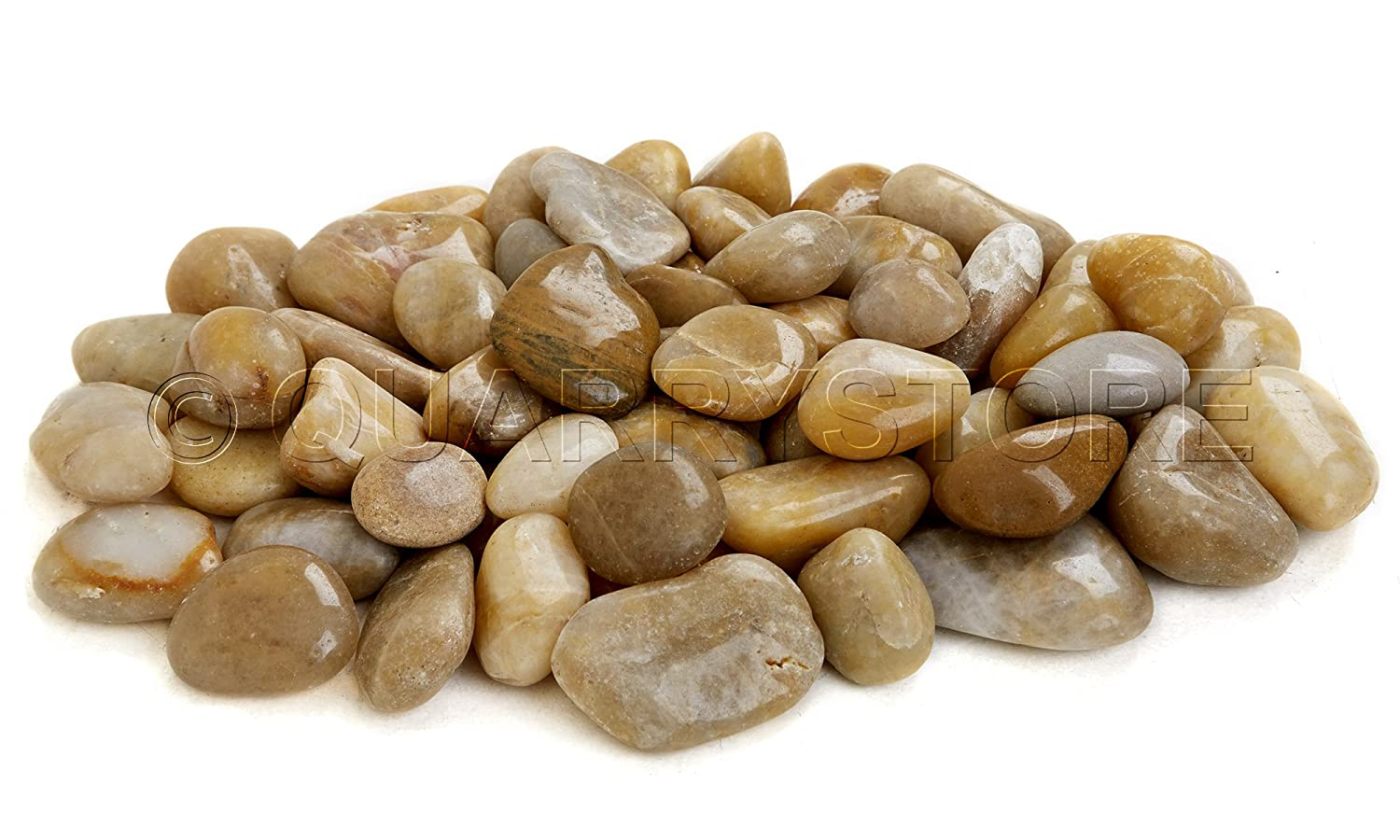Quarrystore Natural Yellow Polished Decorative Garden Pebbles - Approximately 40mm to 60mm in Size - Ideal Outside Decorative Stones for Plant Toppers or Features or for use for Bathroom or Kitchens - 1kg Bag