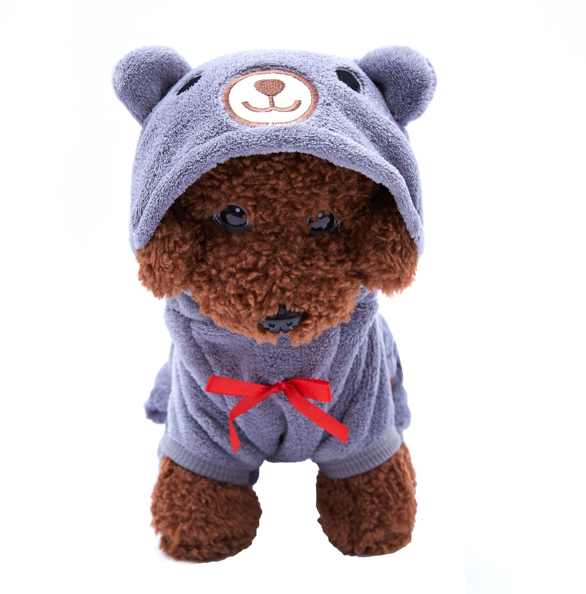 OSPet Dog Hoodie Puppy Coat Pet Warm Red Heart Bear Outfit for Small Dog Gray S