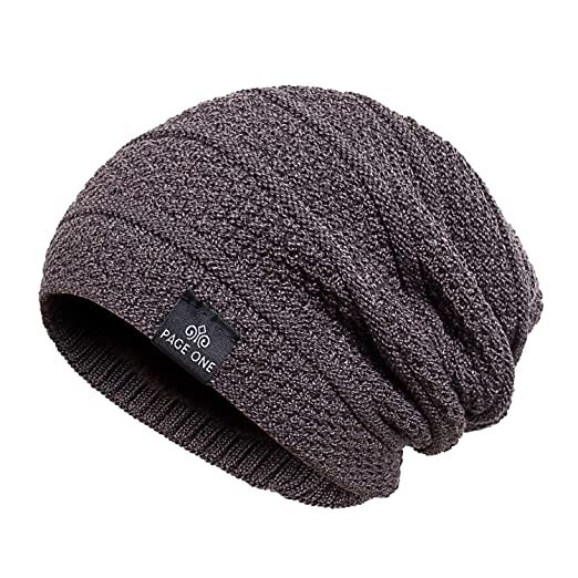 14dbffde756 PAGE ONE Mens Winter Thick Warm Cable Knit Beanie Hat Soft Fleece Lined  Stretch Slouchy Skully