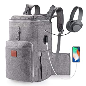 Large Diaper Bag Backpack for Twins or Two Kids, Expandable Grey Baby Diaper Bag for Mom Dad Extra Large Travel Diaper Backpack with USB Charging Port, Changing Pad, Stroller Straps