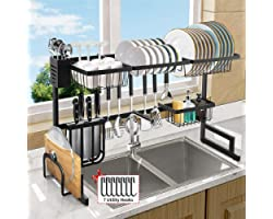 Over The Sink Dish Drying Rack, Length (33.4-41.3'') Adjustable Large 2 Tier Stainless Steel Dish Dryer Rack for Kitchen Orga