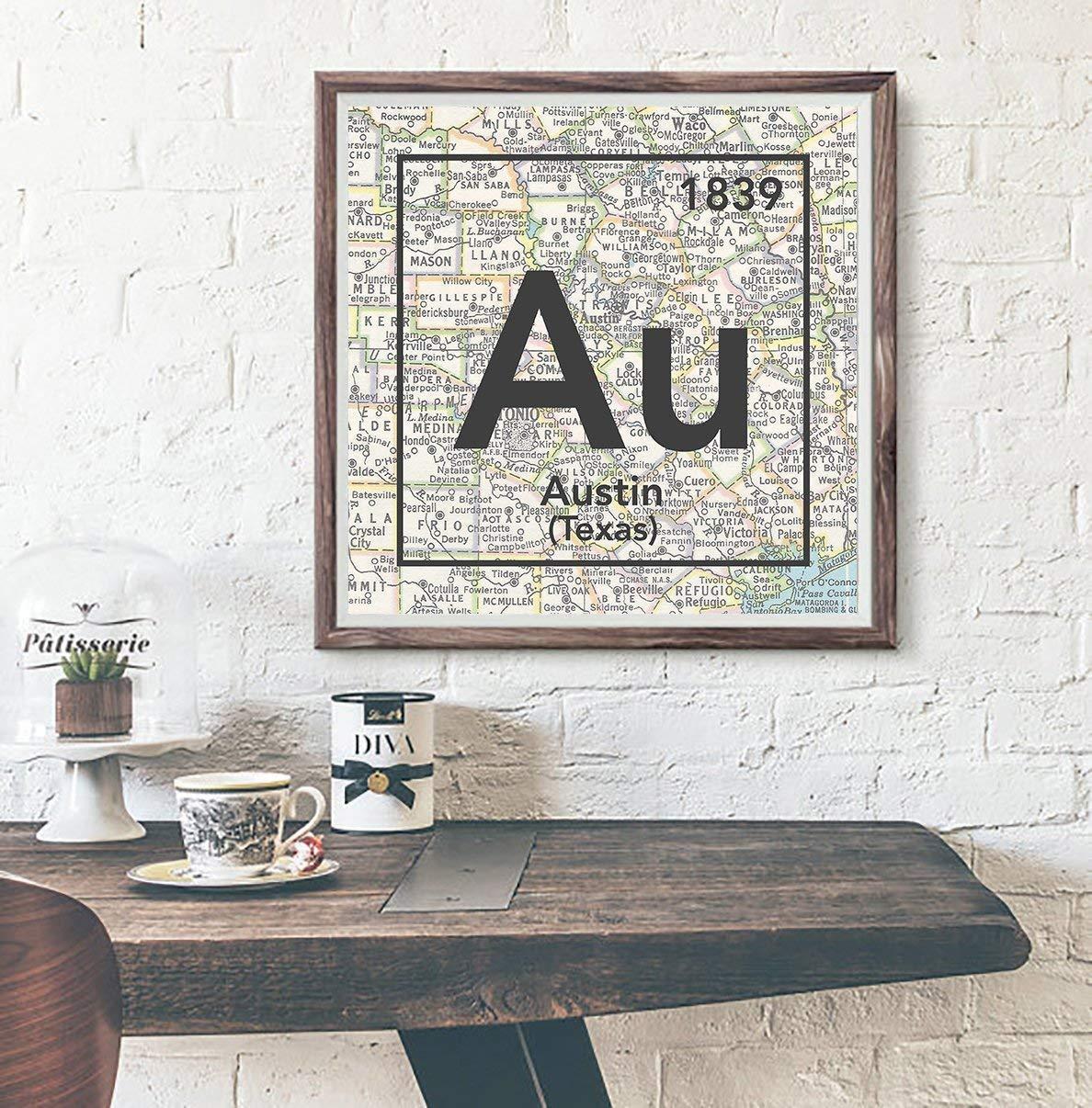 Amazon Com Austin Texas Vintage Periodic Map Art Print Unframed