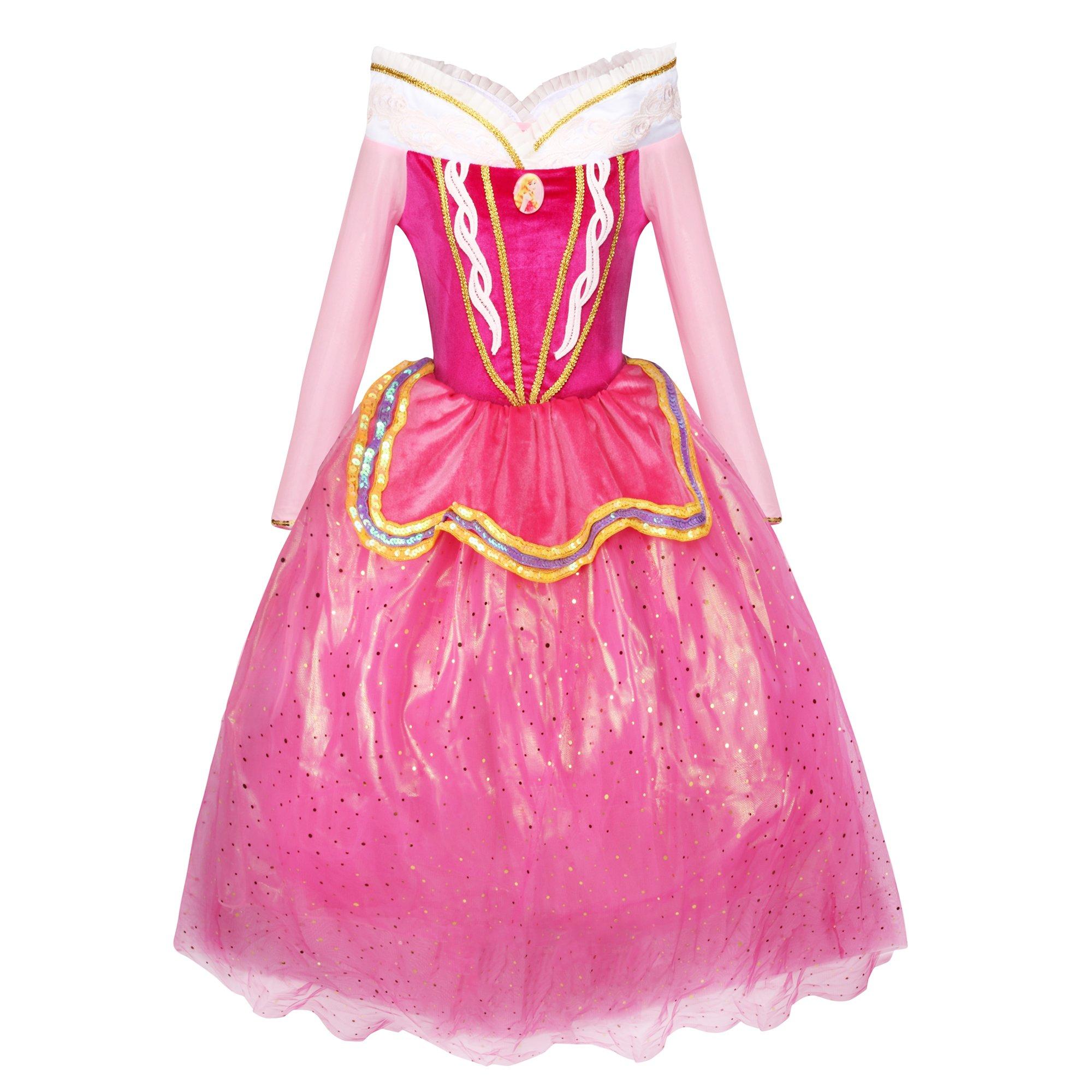 Katara 1742 - Robe de La Belle au Bois Dormant Costume d'Aurore, Robe Rose en Tulle Déguisement pour Filles DE 6-7 Ans product image