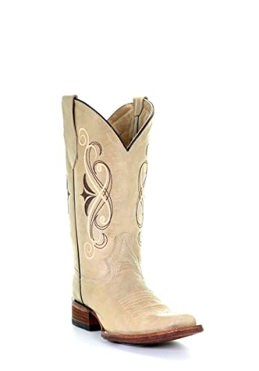 e04aef312 Corral Circle G Women's Embroidery Square Toe Distressed Leather Cowgirl  Boots - Beige