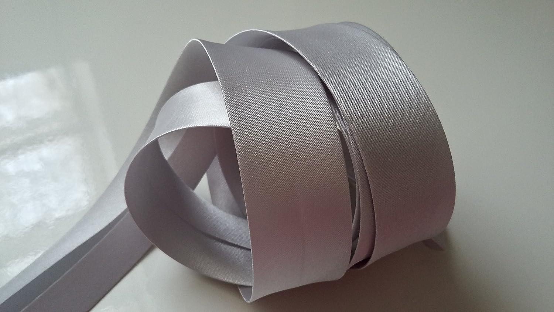 Galon Bande Ruban de Biais Satin/é pour Travaux Manuels Con Biais Uni SATIN polyester Couleur GRIS CLAIR 20 mm pli/é 38 mm d/épli/é X 2 M/ètres Couture Accessoire pour Finitions Tissu V/êtements Cr/éations Mode