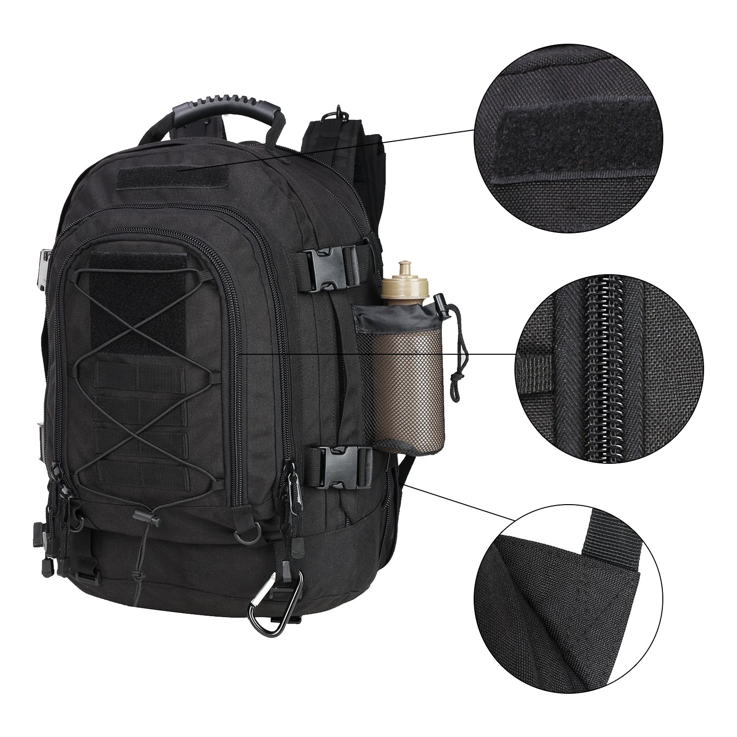 PANS Military Expandable Travel Backpack Tactical Waterproof Outdoor 3-Day Bag,Large,Molle System for School,Hiking,Camping,Trekking,Outdoor Sports,Work Molle System for Travel Work Gray