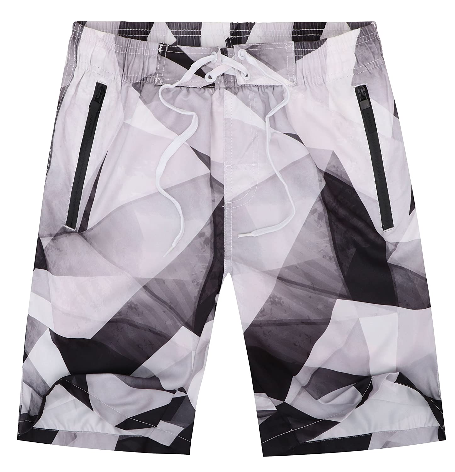 Halconia Men's Quick Dry Swim Trunks Beach Shorts Watershorts with Mesh Lining