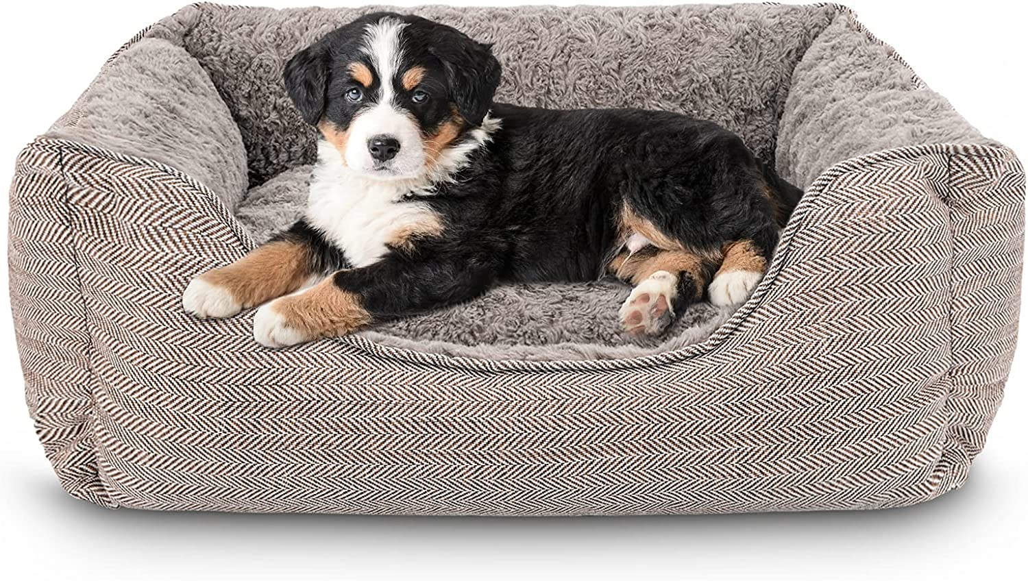 """INVENHO Rectangle Dog Bed for Medium Large Dogs Machine Removable Washable Sleeping Dog Sofa Bed Non-Slip Bottom Breathable Thickened Durable Pet Bed Calming Puppy Cuddler 24""""x 21""""x 8.5"""