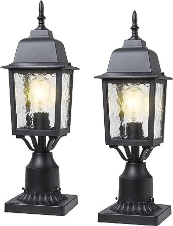 BEEZOK Outdoor Post Light - 2 Pack Exterior Post Lantern, Matt Black Aluminum Housing Lamp Fixtures with Water Rippled Glass for Patio Porch Garden
