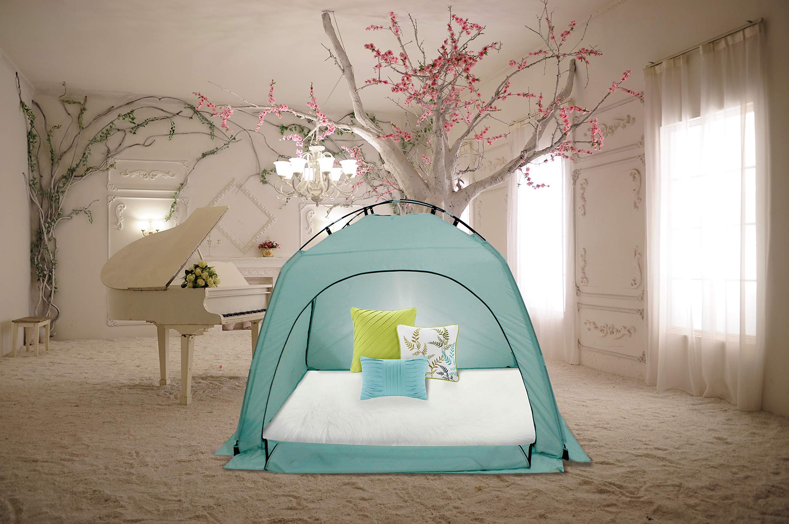 FeelingLove on on Bed/Warm Cozy Sleep, BedTent, LiteBlue Large