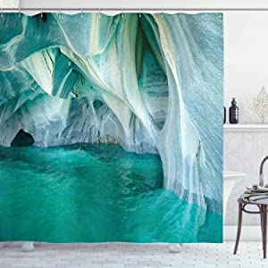 """Ambesonne Nature Shower Curtain, Natural Marble Cave at European Mediterranean Lake Geologic Eroded Artwork Photo, Cloth Fabric Bathroom Decor Set with Hooks, 75"""" Long, Turquoise Grey"""