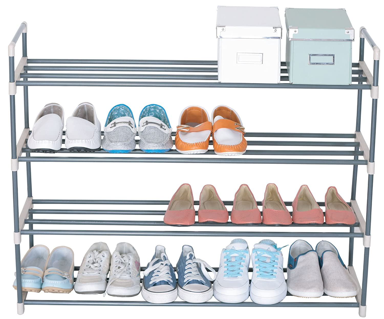UNIWARE 4-Tier Non-Rust Plastic Shoe Rack Home Portable Closet Storage Organizer Cabinet Shelf,Free Standing,Indoor//Outdoor Grey