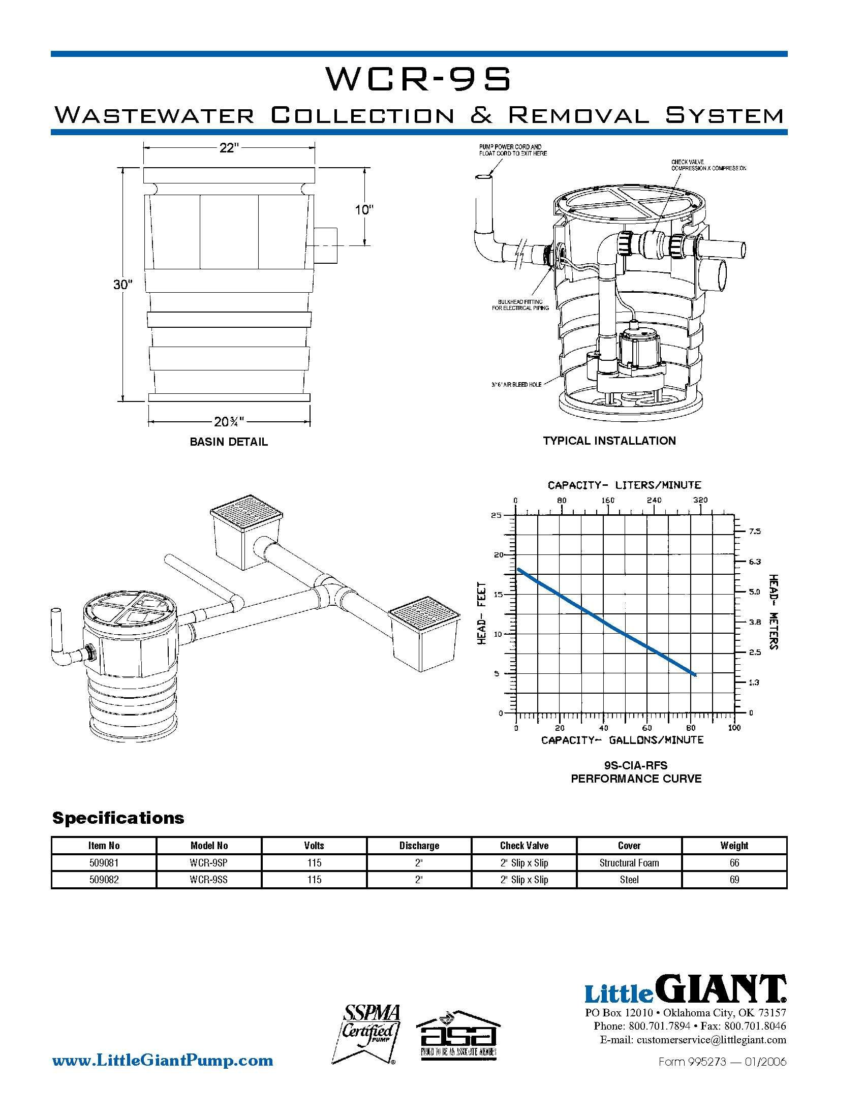 Little Giant 509081 WCR-9SP 115 Volt Wastewater Collection and Removal System, Foam Cover by LITTLE GIANT