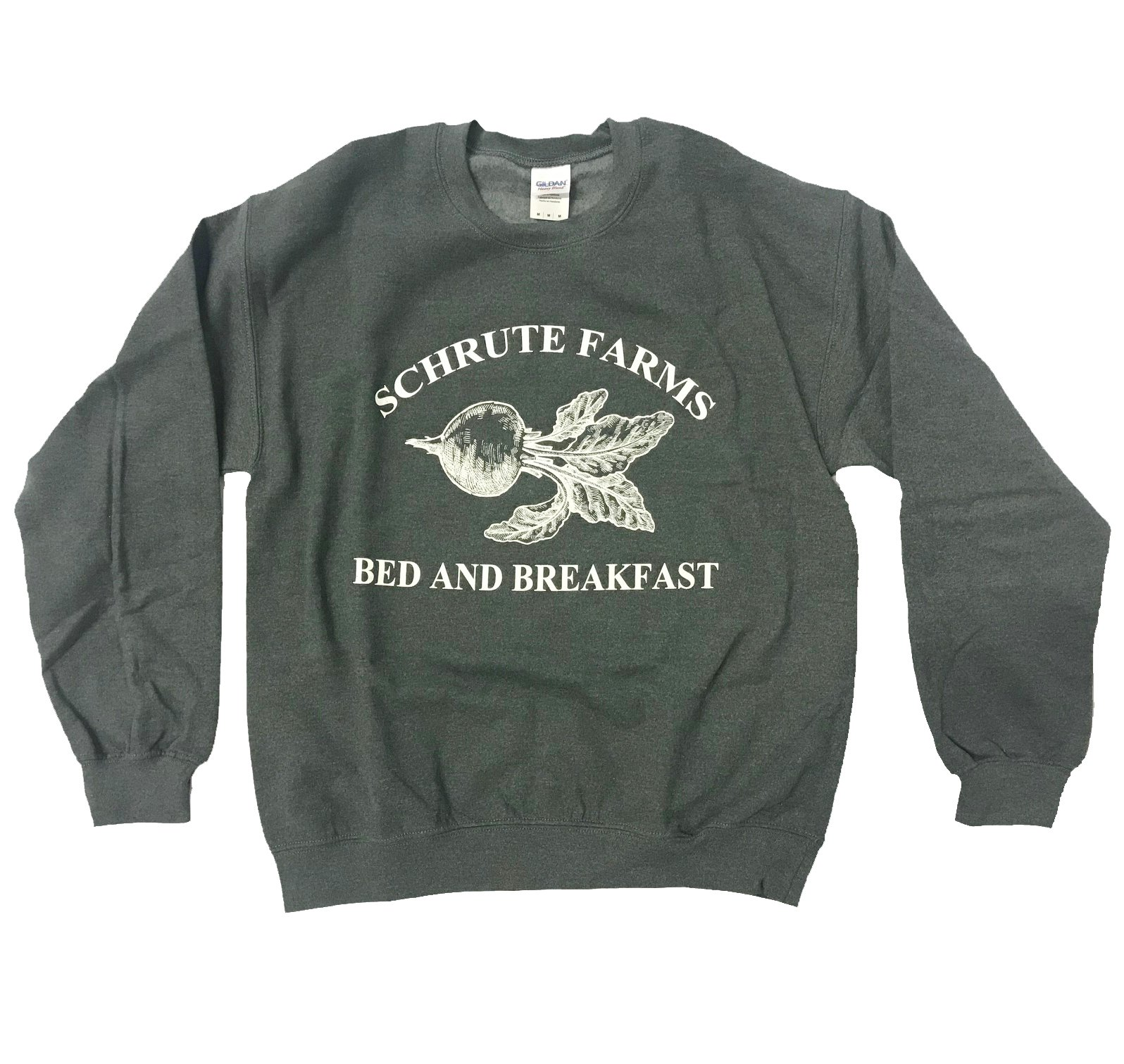 256acf54e iApparel Schrute Farms Bed and Breakfast Dark Heather Grey Men Sweatshirt  (Large)