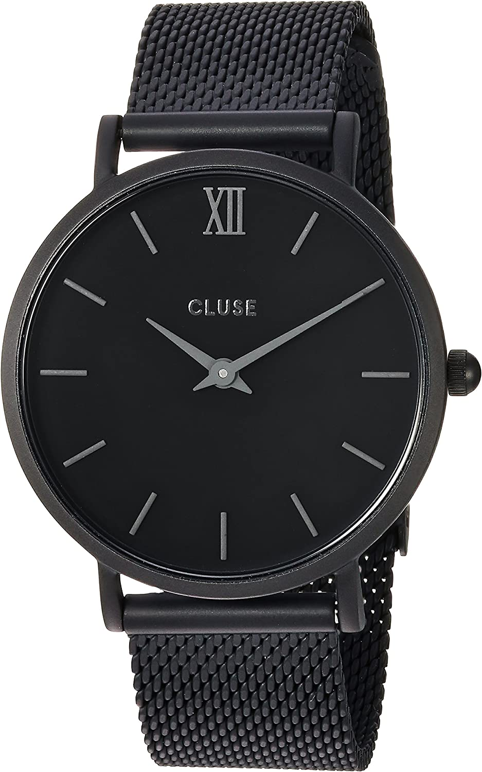 CLUSE Minuit Mesh Full Black CL30011 Women's Watch 33mm Stainless Steel Strap Minimalistic Design Casual Dress Japanese Quartz Elegant Timepiece