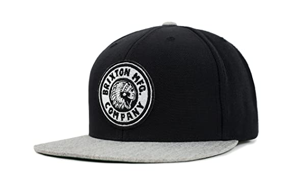 a251831f83 Brixton Men's Rival Medium Profile Adjustable Snapback Hat, black/heather  grey, One Size
