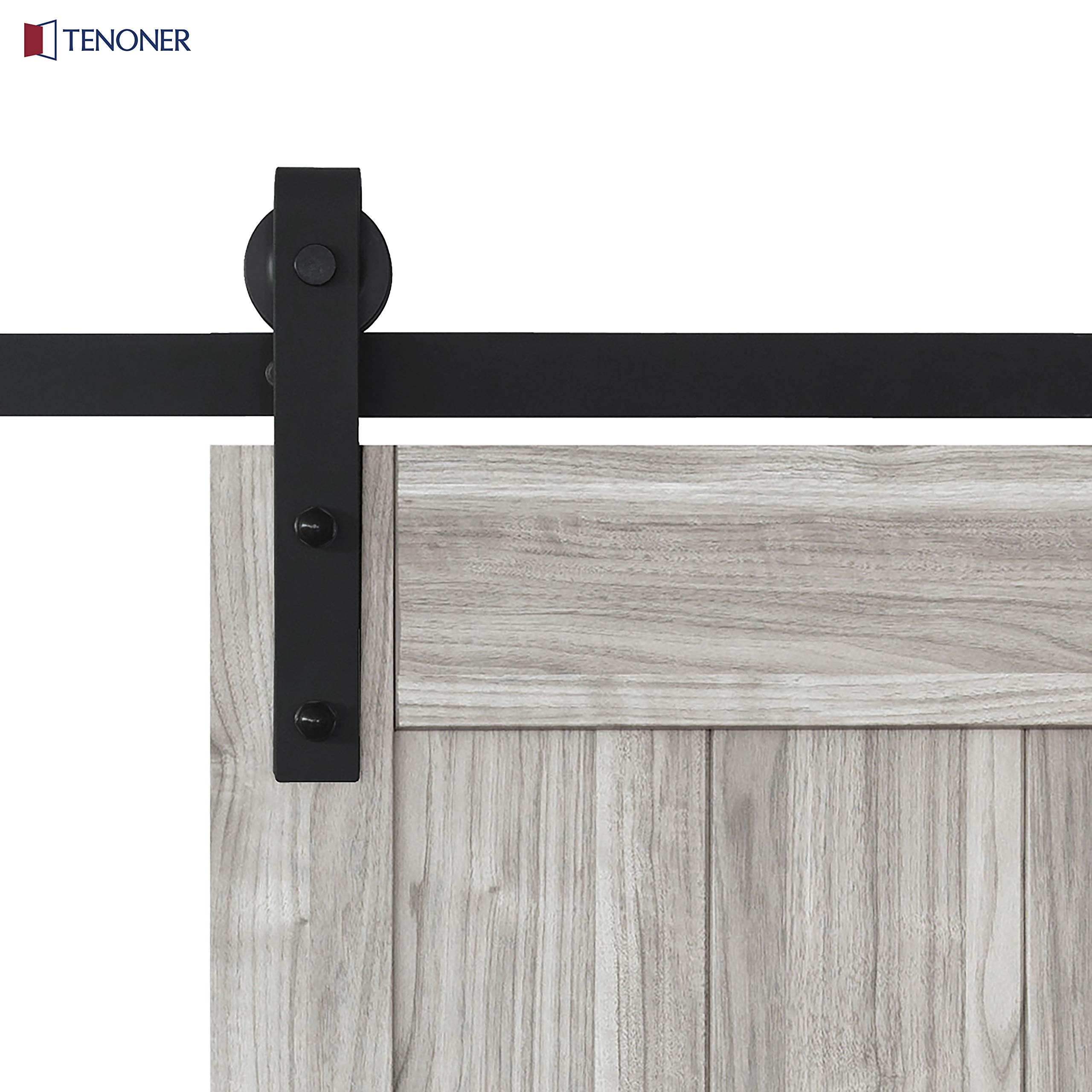 TENONER 36in x 84in Grey K-Frame Sliding Barn Door, 6.6ft Barn Door Hardware Kit & Handle Included by TENONER (Image #4)