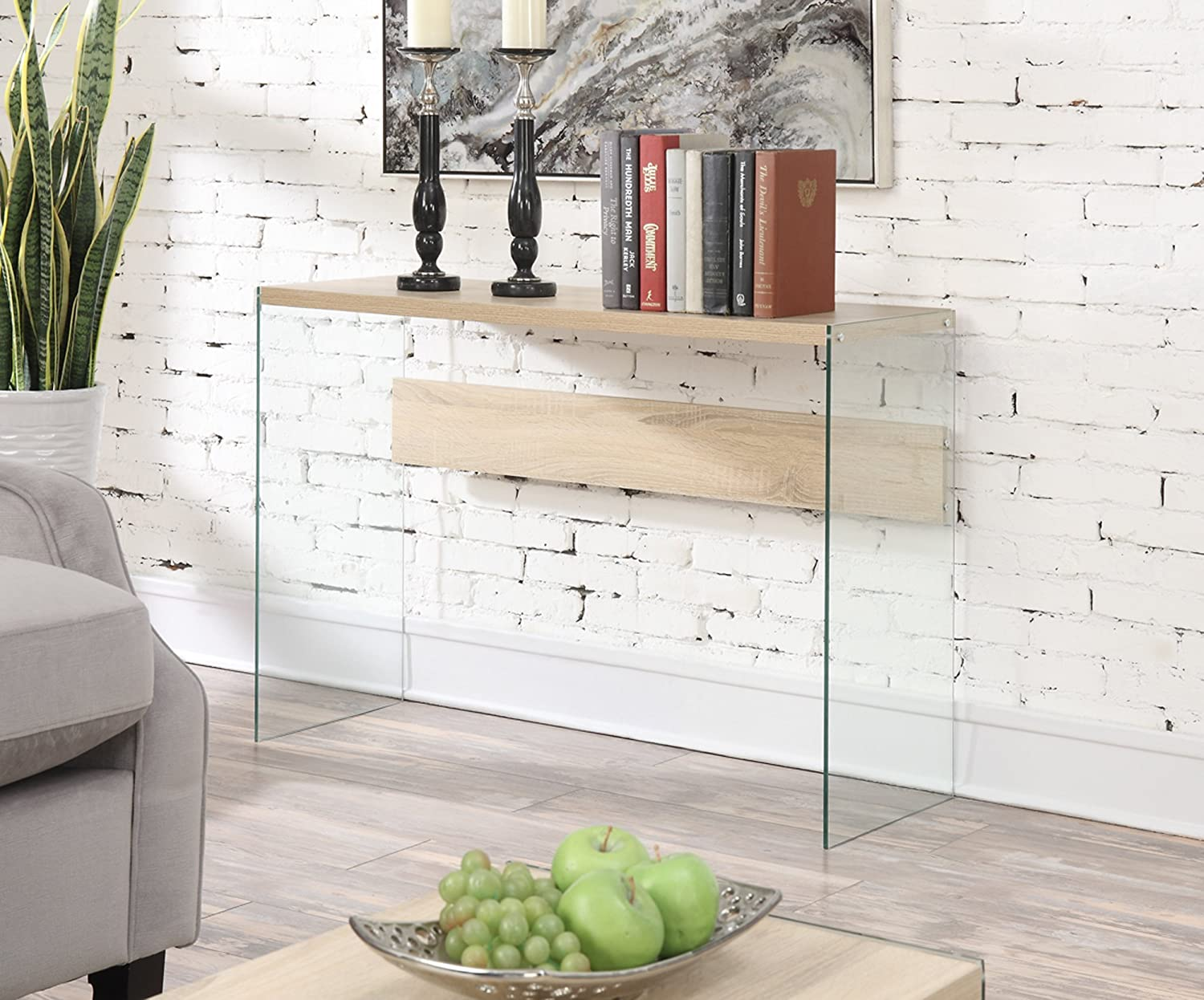 Amazon.com: Convenience Concepts Soho Console Table, Weathered White:  Kitchen U0026 Dining
