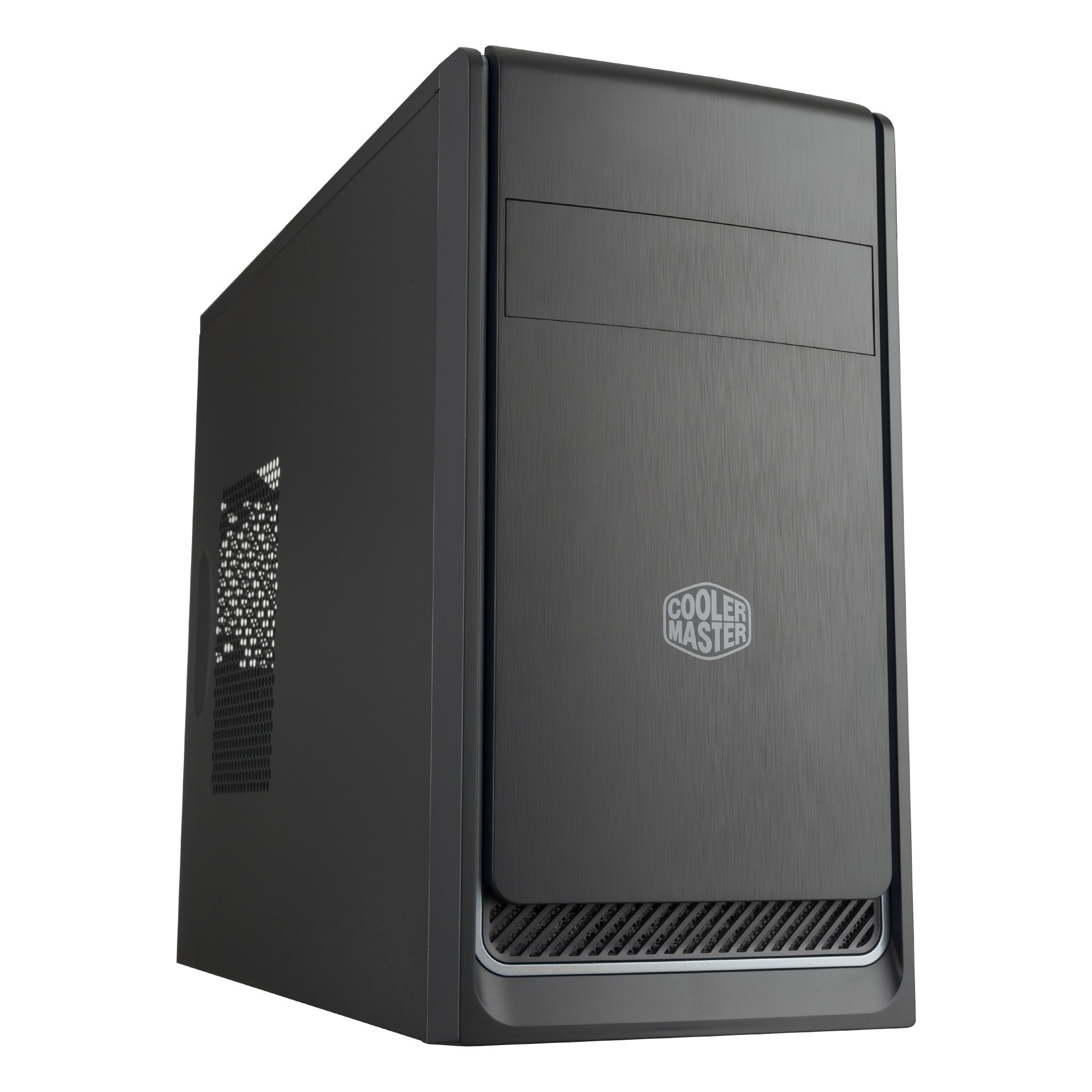 Cooler Master MasterBox E300L Micro-ATX Computer Case, Silver Trim, Brushed Texture Front Panel, Side Panel Air Vent