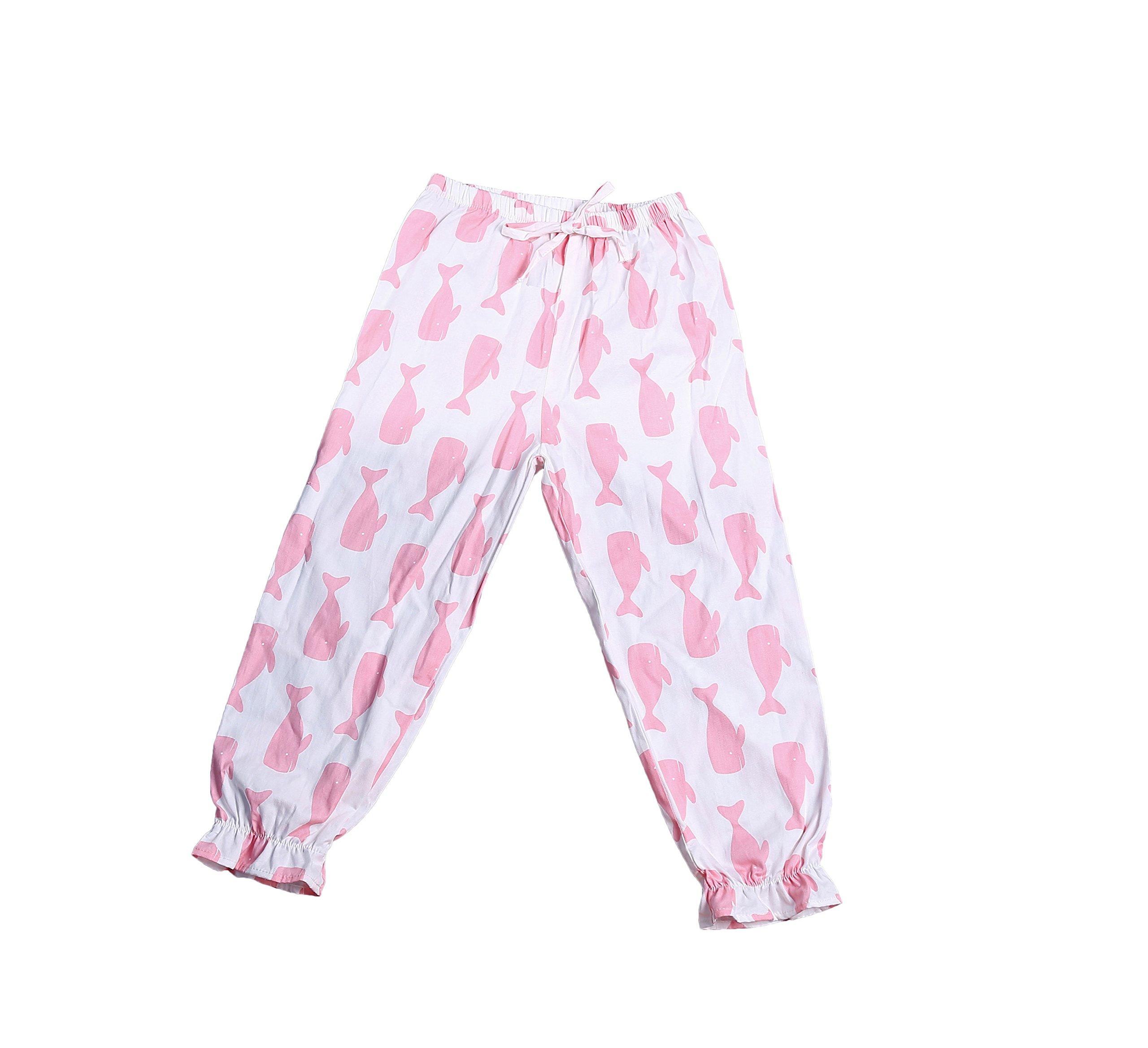 Zukzi Girls Summer Casual Cotton Mid Waist Long Pants with Pattern, Whale, 6-7 Years