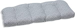 """Pillow Perfect Outdoor/Indoor in The Frame Pebble Tufted Loveseat Cushion, 44"""" x 19"""""""