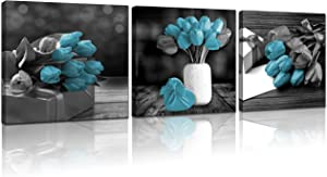gouyitu Wall-Art - Prints for Living Room Tulips - Wall-Decor for Bedroom Black and White Flower Floral Canvas for Bathrooms Framed Blue Tulip Paintings Decoration Poster Gift 14x14 inches 3 Panels