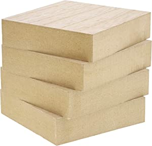 Unfinished Wood Blocks for DIY Crafts, Square Sign Block (4 x 4 in, 4-Pack)