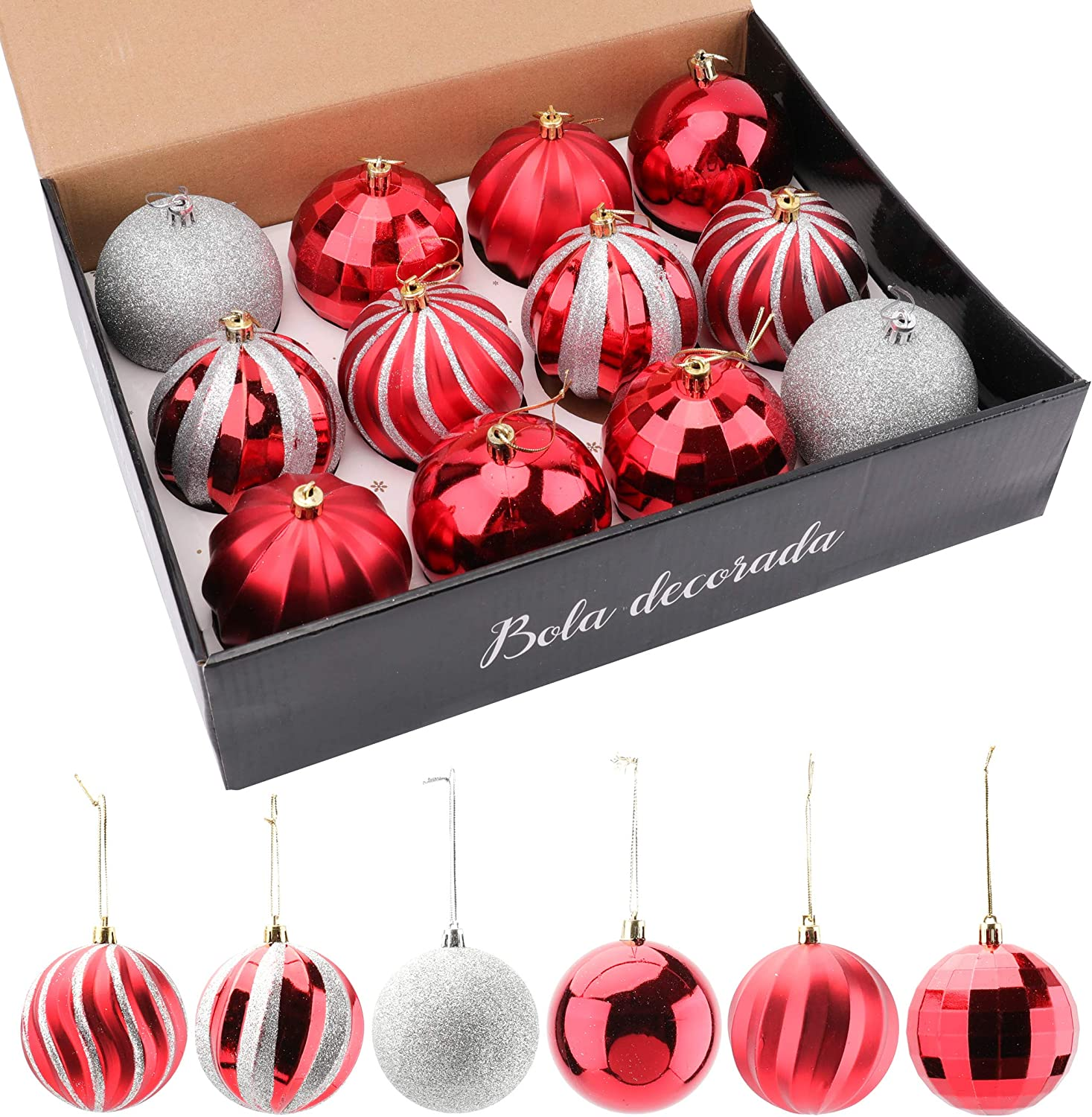 """WUWEOT 12 Pack 3.1"""" Christmas Ball Ornaments, Painting & Glittering Shatterproof Ornaments, Hanging Christmas Ornaments for Xmas Tree Holiday Wedding Christmas Party Decoration Home Decor (Red+White)"""