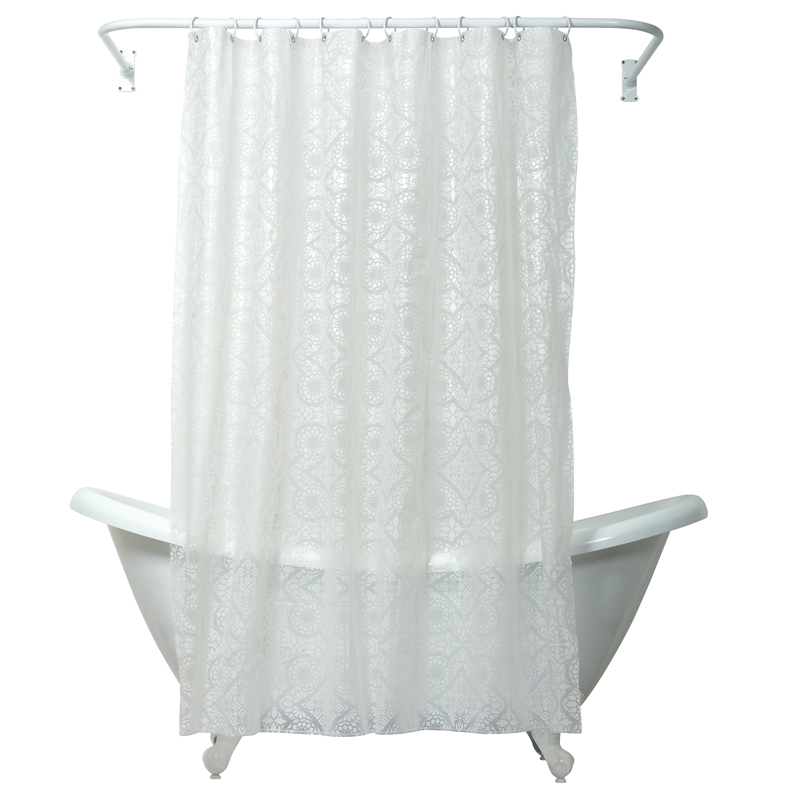 Zenna Home India Ink Morocco Peva Shower Curtain Liner, White