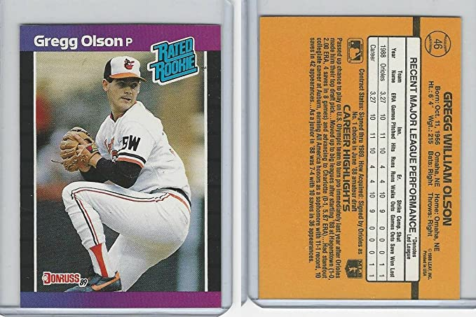 1989 Donruss Baseball 46 Gregg Olson Orioles Rated Rookie At Amazon S Entertainment Collectibles Store