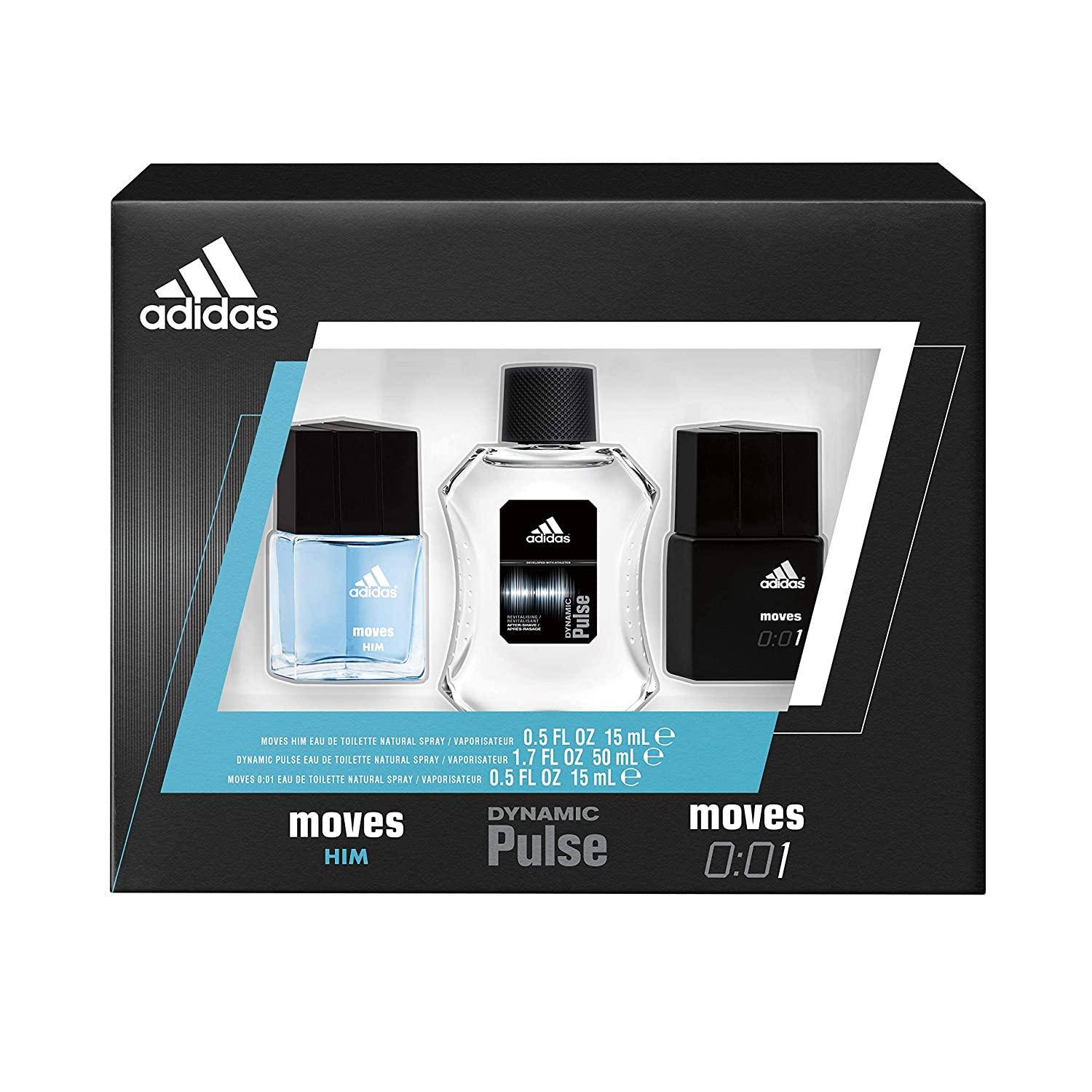 Adidas Fragrance 3 Piece Eau De Toilette Gift Set With 0.5-Ounce Moves, 0.5-Ounce Moves 001, And 1.7-Ounce Dynamic Pulse