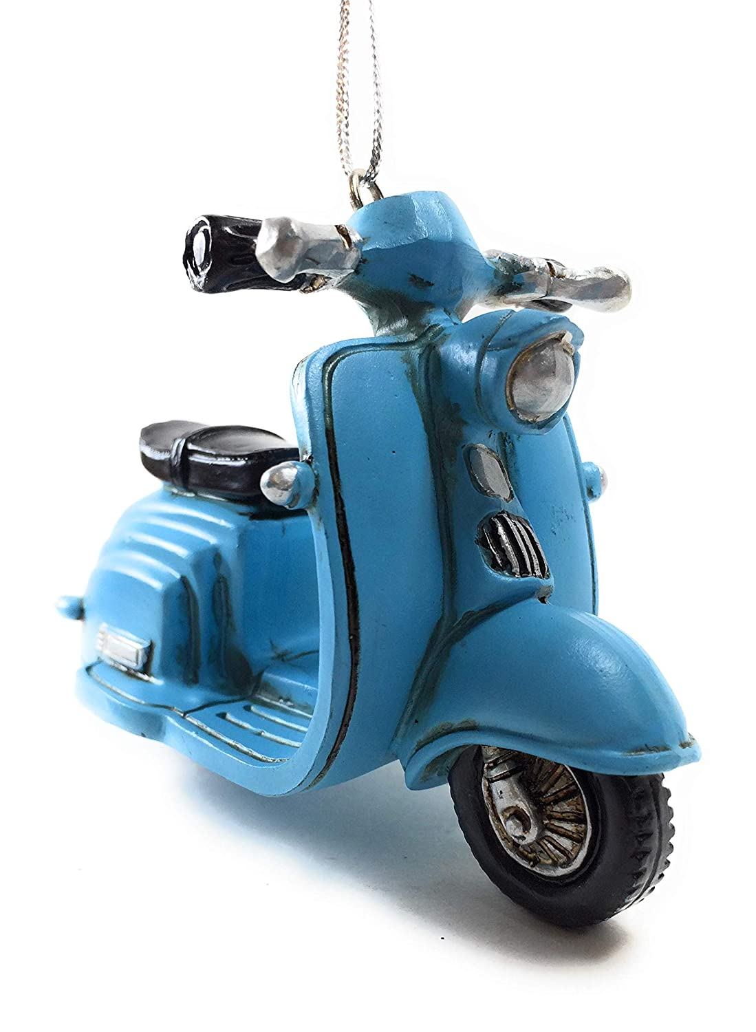 Midwest-CBK Blue Scooter Vintage Look Christmas Tree Ornament