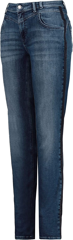 GINA LAURA Damen Jeans Julia, Galonstreifen, schmale 5-Pocket-Form 727022 Blue Denim