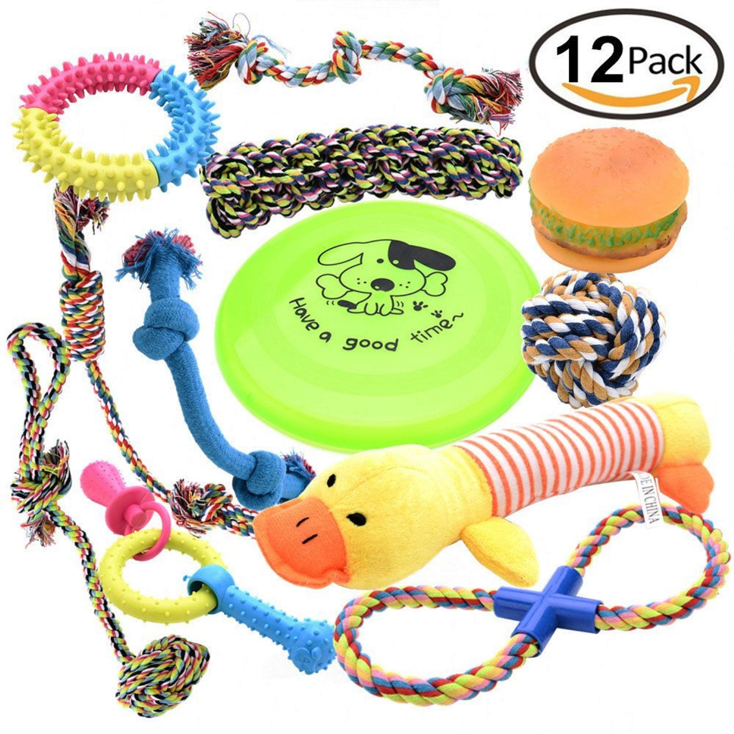 Pofar [12 Parck] Dog Toys Set with Ropes Chew Flying Squeak Frisbee Ball and Training Toys. Healthy Puppy Treats and Interactive Ropes