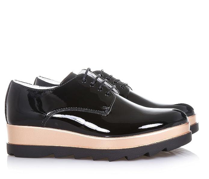 88ddef4142 CULT - Schwarzer Halbschuh mit Schnürsenkeln aus Lackleder, hohe Sohle,  sichtbare Nähte, Mädchen, Damen-33: Amazon.de: Schuhe & Handtaschen