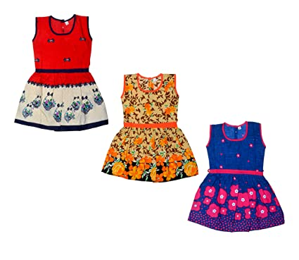 68329a6dd29b Sathiyas Baby Girl s Combo Of 3 Cotton Frocks  Amazon.in  Clothing ...