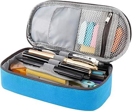 Estuche para lápices y bolígrafos de RAGZAN de gran capacidad, organizador de papelería para niños y niñas, color azul: Amazon.es: Oficina y papelería