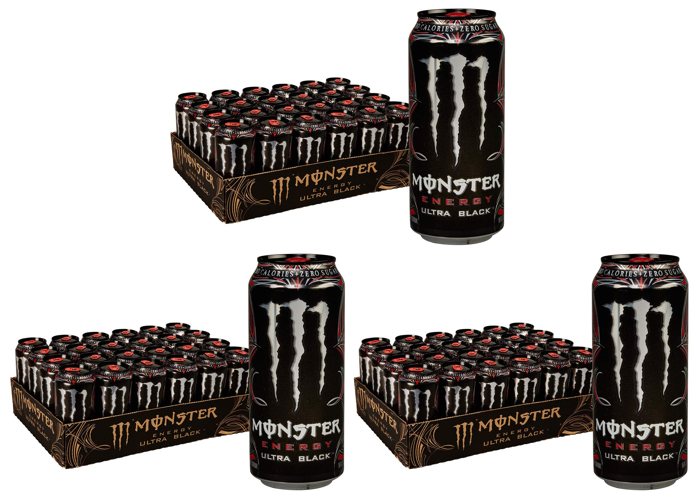 QPHEETKQ Ultra Black, Sugar Free Energy Drink, 16 Ounce, 3 Cases of 24 Cans