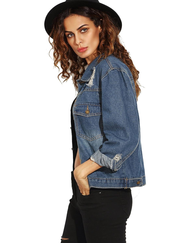 af7d938bae SheIn Women's Casual Ripped Plain Button Down Denim Jacket Blue Medium at Amazon  Women's Coats Shop