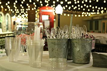 Oaklyn (300 Count) Heavy Duty Clear Plastic Cutlery Set - 100 Forks 100 Spoons 100 Knives - Bulk Disposable or Reusable Heavyweight Fancy Utensils