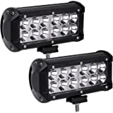 """YITAMOTOR 2PCS 7"""" 36W LED Work Light Bar 30 Degree Spot Beam with Mounting Bracket Waterproof for Off-road Driving Jeep SUV Truck Car ATVs 4x4 4WD Boat"""