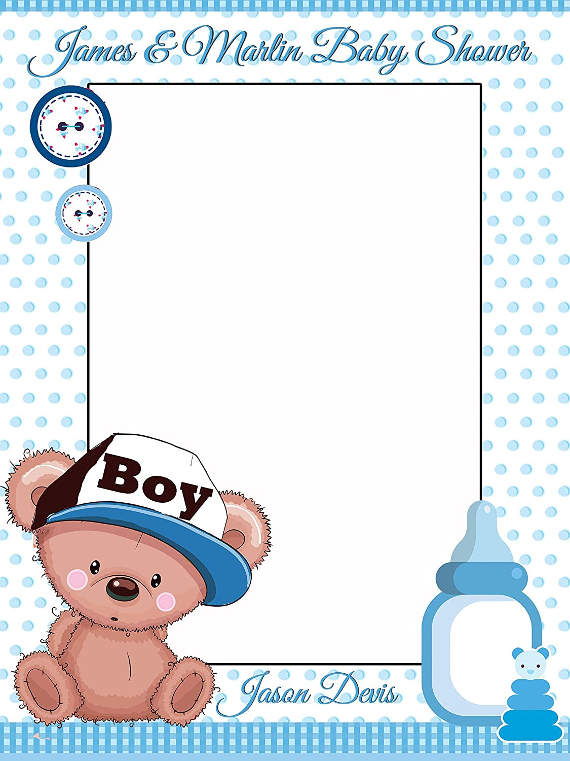 Amazon.com: Custom Home Decor Teddy Bear Baby Shower Photo Booth Prop    Sizes 36x24, 48x36; Personalized Social Media Style Baby Shower Photo Booth  Frame; ...
