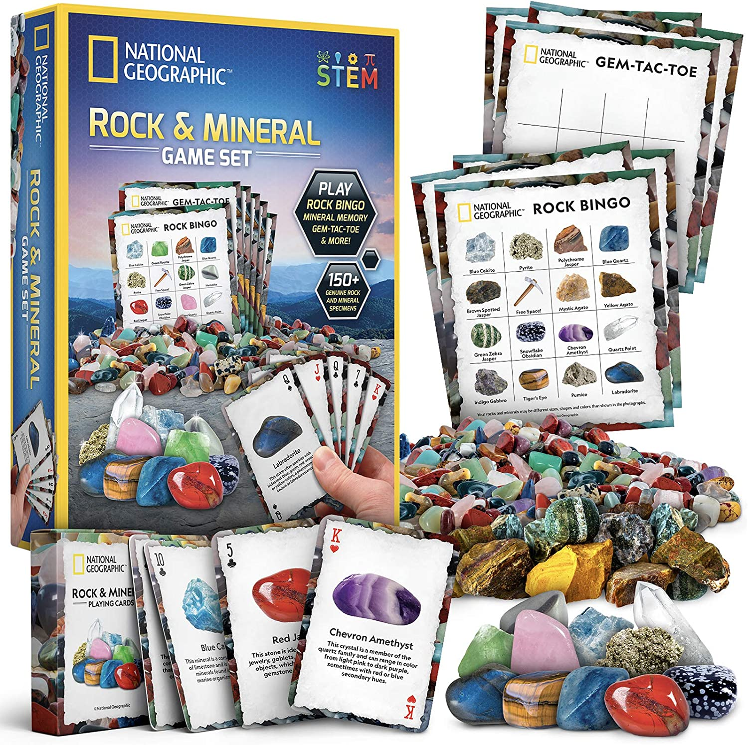 NATIONAL GEOGRAPHIC Rock Bingo Game -Play Rock Bingo, Mineral Memory, Gemstone Trivia, & Your Favorite Card Games, Collection Includes Over 150 Rocks and Minerals, Great Educational STEM Toys for Kids