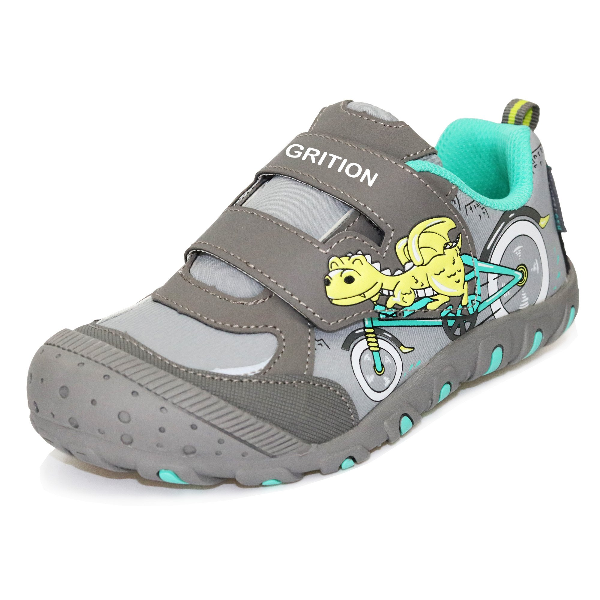 GRITION Mid Kids School Shoes, Dinosaur Riding Bike Cartoon Sneakers for Boys Girls Easy Hook and Loop Walking Running Water Resistant Shoes Black Gray Unisex Child (3 M Little Kid/EU 35, Gray)