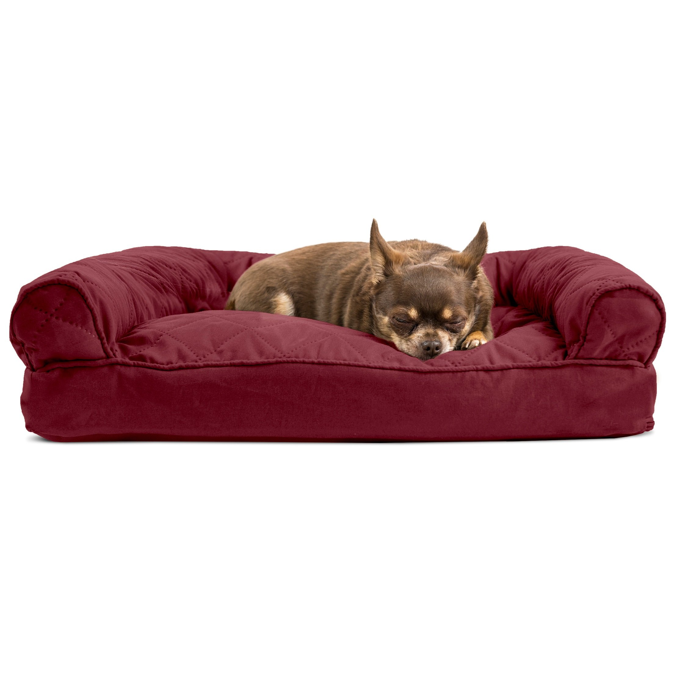 Medium 1 Piece Red Burgundy Color Quilted Pillow Sofa Style Pet Bed Dog Cat Kitten Puppy Doggy Animal Four Legged Superbly Snuggly Beautiful Soft Cozy Luxurious Comfortable Easy Feel Relax
