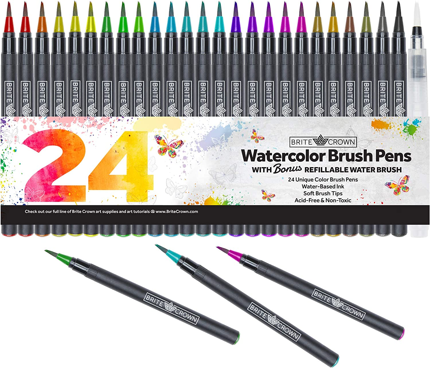 Watercolor Brush Pens – Includes 24 Colorful Watercolor Markers (Flexible Nylon Brush Tips) with 1 Refillable Water Blending Brush | Watercolor Paint Pens Art Supplies for Teens, Kids and Adults