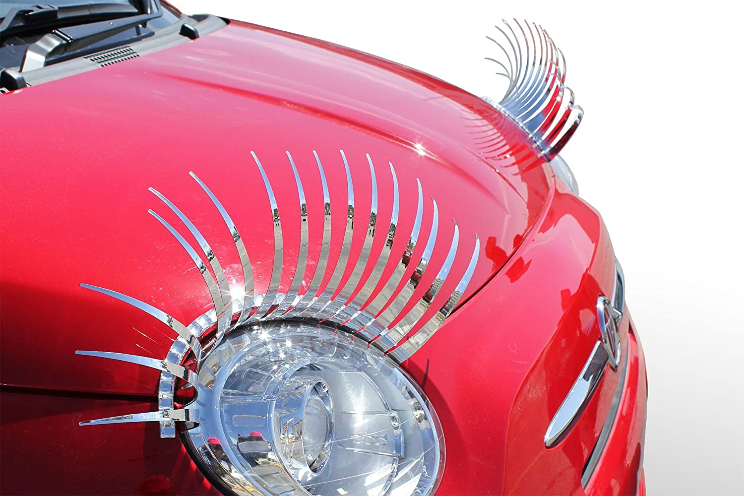 Girly Car Accessory Ladies Fashion Diva Bling Electroplated Mirror Finish CHROME CarLashes SILVER Car Eyelashes Special Edition Miles of Smiles Turbo Style Products 4350289528